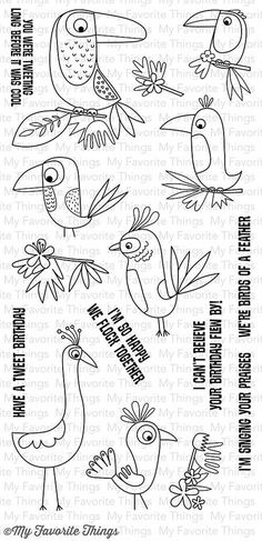 "MFT STAMPS: Birds of Paradise Stamp Set (4.5"" x 9.5"" Clear Photopolymer Stamp Set) This gorgeous collection of flora and fauna will impart a cozy fall feel to your cards and projects. The mix of flowe"