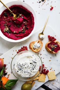 Roasted Beet Hummus with Seeds + Honey Ricotta Dip with Black Salt - a Better Happier St. Sebastian