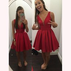 red sexy sexy V Neck Short Prom Dress homecoming dresses for party 2017