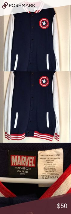 0c8b92416 Marvel Captain America Varsity Letterman Jacket XL Marvel Comics Captain  American Varsity Letterman Jacket Color