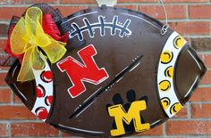House Divided Football Door Hanging with deco mesh bow