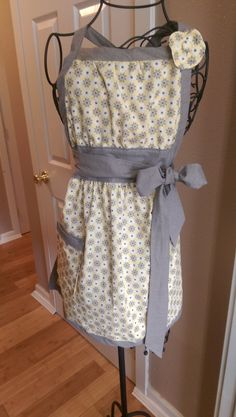 A-line empire waste yellow and gray apron with flowers by TheStitchinCorner on Etsy