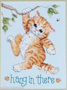 Janlynn Counted #crossstitch Hang In There ♥ #pets #cats #catlover #mothersday…