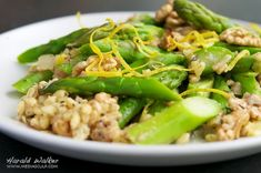 #vegan Lemony Barley Risotto with Asparagus and Walnuts