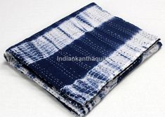 White Coverlet, Shibori, Queen Size, Hand Stitching, Bedding, Ann, Bohemian, Blue And White, Etsy Shop