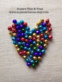Christmas crafting items in shop! Aluminum Bell Beads Jewel Tone 10 mm. Set of 80. Susie's This & That on Etsy.
