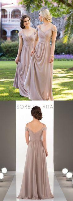 2017 bridesmaid dress, long bridesmaid dress, chiffon bridesmaid dress, champagne bridesmaid dress, wedding party dress