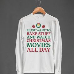 Holiday Baking and Movies Unisex Long Sleeve Tee by Skreened