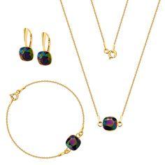 Komplet z kryształami Swarovski Swarovski, Gold Necklace, Jewelry, Gold Pendant Necklace, Jewlery, Jewerly, Schmuck, Jewels, Jewelery