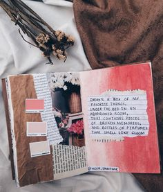 'there's a box of my favorite things, under the bed in an abandoned room, that contains pieces of broken memories, and bottles of perfumes that smell like gloom' // art journal + poetry // journaling, scrapbooking, diy craft ideas inspiration teen college student, words, quotes, words, inspiration, bullet journal, tumblr aesthetics, poem//