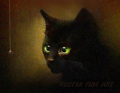 black cat art print - EENSY WEENSY - black kitten art. $15.00, via Etsy.