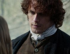 """Jamie Fraser (Sam Heughan) and Laoghaire (Nell Hudson) in 'Outlander' Episode 109, """"The Reckoning"""" via http://www.springfieldspringfield.co.uk/view-screencaps.php?tv-show=outlander-2014&episode=s01e09"""
