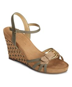 Look at this Aerosoles Green Plush Around Wedge Sandal on #zulily today!
