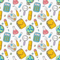 Cute funny back to school seamless patte. Chroma Key, Cute Backgrounds, Cute Wallpapers, Glam Wallpaper, Wallpaper Powerpoint, Too Cool For School, Back To School, School Labels, Patterned Sheets