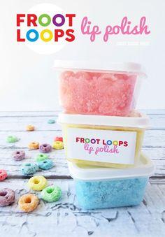 DIY Froot Loops Lip Polish {with free printable labels} Lip Scrub Homemade, Homemade Gifts, Diy Gifts, Froot Loops, Perfume, Diy Spa, Diy Beauty, Beauty Tips, Beauty Hacks