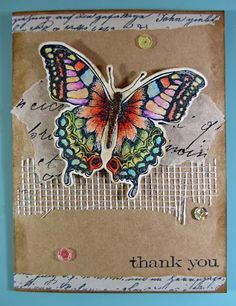 """Scraps From A Broad: """" Used coloured pencils and Gamsol. The body of the butterfly is a separate die. Added some Distress Stickles Vintage Photo to it, to make it crunchy and give it some texture.    Underneath the butterfly is a piece of tissue paper with script on it, and a strip of drywall tape underneath that! Added some sequins and some Washi Tape on the top and bottom.    Sentiment is from Tim Holtz Stampers Anonymous """"Simple Sayings"""" set."""""""