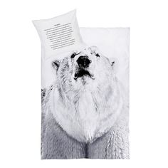 Bear witness to designer style with the By Nord Polar Bear Bed Linen. The duvet cover is made from eco-tex certified cotton and features a digital print of a polar bear in a monochrome black and white finish. Rest easy every night with this commanding creature watching over you. Embrace the new season collection from By Nord as it lauds the significance of light to nature and man. Please note duvet covers and pillowcases sold separately.