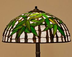 Tiffany stained glass apple blossom lamp. Stained glass lamp.