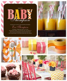 Modern chic baby shower--we love the mix of stripes, polka dots and chevrons!