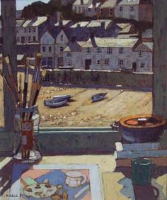 Mike Hall original 'View of Harbour with sunlit roofs'