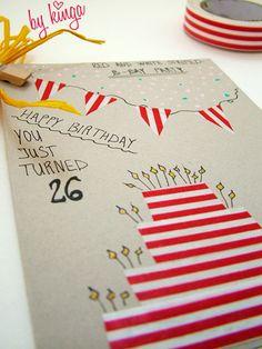 birthday card with washi tape