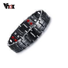 Vnox Punk Healthy Energy Bracelet Men Black Chain Link Bracelets Jewelry Stainless Steel Magnet Charm Bracelets for Men Jewelry