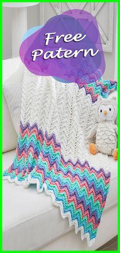 Rippling Rickrack Rainbow Baby Blanket Crochet Free Pattern, Blanket, Crochet, Throw, Free Pattern, Crochet Pattern, Blanket Pattern, Rainbow, DIY, Crafts, Handmade, Step by Step, Yarn, Red Heart, Baby, Baby Pattern, Baby Blanket. #crocheting #crochet #freepattern #babyblanket #crochetblanket #YarnOfCrochet