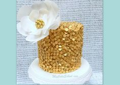 Elegant Sequined Cake with Wafer Paper Flower- Tutorial by MyCakeSchool.com