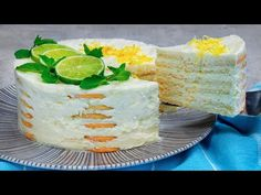 Lahodný recept na dort s jemnou citronovou příchutí. BEZ TROUBY a ŽELATINY!| Chutný TV - YouTube Saveur, Four, Vanilla Cake, Camembert Cheese, Beverages, Recipes, Desert Recipes, Cake Receipe, Crack Crackers