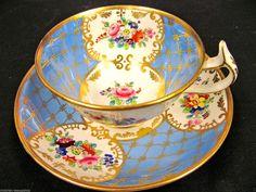 Antique 1840 Copeland Garrett TEA CUP AND Saucer Painted Floral Teacup Rose…