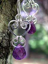 Handmade Amethyst Gemstone Chandelier Earrings