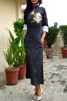 Buy Dark Gray Cotton Embroidered A-Line Kurti by Colorauction - Online shopping for Kurtis in India Kurti Designs Party Wear, Kurta Designs, Blouse Designs, A Line Kurti, Suits For Women, Clothes For Women, Embroidered Kurti, Kurta Neck Design, Indian Designer Wear