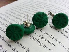 Earrings Four Leaf Clovers Handmade Clay Green by Mindiemay, $1.75
