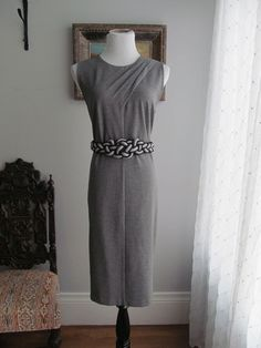 TALBOTS Solid Gray Rayon Blend Pleated Shoulder Shift Dress Size 12 #Talbots #Shift #WeartoWork