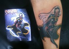 This STORM tatto was based on Bruce Timm´s art and it´s my 5th heroine from the same artist. On the right leg I have DC heroines: Wonder Woman, Hawkgirl and Batgirl and on the left leg I have: Miss Marvel and Storm (She-Hulk will be the next). Check  comic book tattoo, www.thetattoofanatic.com