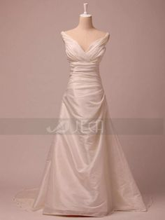 VNeckline Simple Wedding Dress For Rush Order by Jecadress on Etsy, $239.95