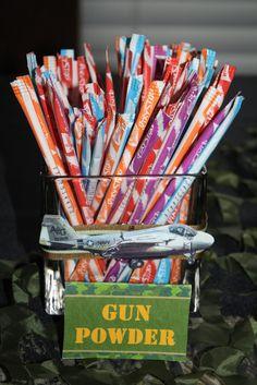 "Gun Powder pixie sticks Photo 13 of Military / Birthday ""Army Party"" Halo Birthday Parties, Army Birthday Parties, Birthday Party Themes, Birthday Ideas, Army Themed Birthday, Army's Birthday, Mermaid Birthday, Camouflage Party, Army Camouflage"