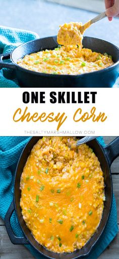 One skillet super easy cheesy corn!