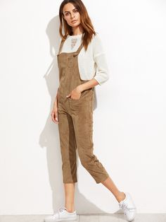 4cd67ee83972 Buy Khaki Polyester Pockets Overall Jumpsuit online