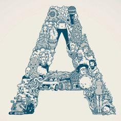 An alphabet that illustrates digital vocab for creative types by @jessicahische