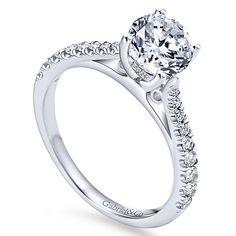 Avery 14k White Gold Round Straight Engagement Ring