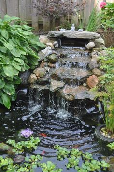 40 simple beautiful small pond and water garden for your yard landscaping ideas 31 Backyard Water Feature, Ponds Backyard, Backyard Waterfalls, Fish Ponds, Ponds With Waterfalls, Garden Ponds, Koi Fish Pond, Fish Pond Gardens, Small Water Gardens