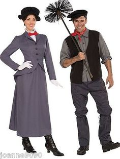 ADULT NANNY MARY POPPINS CHIMNEY SWEEP BERT FANCY DRESS COSTUME BOOK DAY WEEK