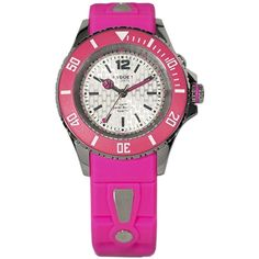 KYBOE! Neon Pink Silicone & Stainless Steel Strap Watch/40MM ($270) ❤ liked on Polyvore featuring jewelry, watches, fine jewelry - fine watches c, pink, bezel jewelry, dial watches, silicon watches, silicone jewelry and neon pink jewelry