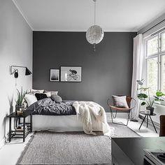 Dark Gray Bedroom, Gray Bedroom Walls, Grey Bedroom Design, Grey Bedroom Decor, Trendy Bedroom, Home Bedroom, Bedroom Designs, Bedroom Furniture, Bedroom Small