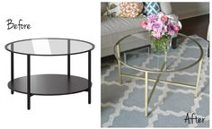 ikea vittsjo coffee table before and after gold spray paint metal glass round diy hack . ikea vittsjo coffee table before and after gold spray paint metal glass round diy hack - table Coffee Table Hacks, Ikea Coffee Table, Ikea Table Hack, Round Glass Coffee Table, Ikea Hack Vittsjo, Furniture Makeover, Diy Furniture, Painting Furniture, Diy Deco Rangement