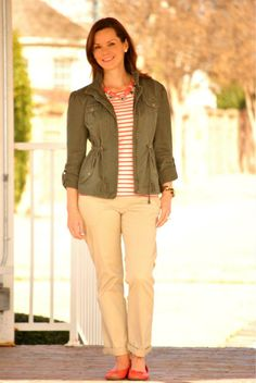 Alison from Get Your Pretty On is utilitarian chic in a fitted military-style jacket.