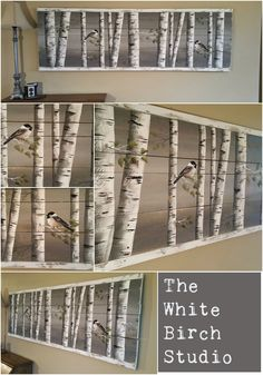 "Item details 5 out of 5 stars.      (170) reviews Shipping & Policies Pallet art, White Birch reclaimed wood, Long Horizontal mural Art, Aspen trees, Hand painted chickadee, Distressed  ****This piece is 65"" Long x 21"" high*****  This picture is of the original painting on reclaimed wood fencing.  Are you looking for a unique piece of shabby art for over your couch or that long hallway?"
