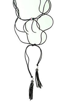 Layered wrap-style choker necklace made of double black saten cord 2mm, a Swarovski elements silver pendant and 925o silver balls 4 and 11mm.  - Χειροποίητο ασημένιο μακρύ κολιέ και τσόκερ από διπλό μαύρο σατέν κορδόνι 2mm, μήκους 1,5m. Το κολιέ τυλίγεται γύρω από το λαιμό σε τσόκερ με μενταγιόν από ασήμι 925ο και κρύσταλλα Swarovski από το οποίο πετάγονται σατέν κορδόνια με ασημένιες μπίλιες στις άκρες τους.