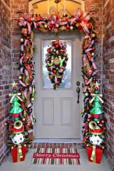 DIY:: 2013 Quick Easy Whimsical Christmas Front Door How to  !